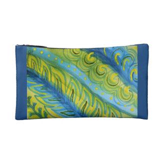 Vivid abstract watercolor plants makeup bag