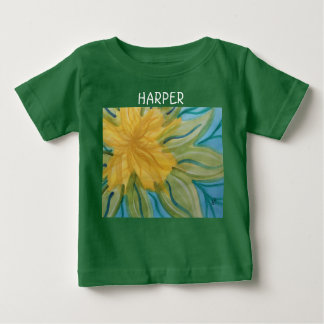 Vivid abstract watercolor yellow flower baby T-Shirt