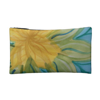 Vivid abstract watercolor yellow flower cosmetic bag