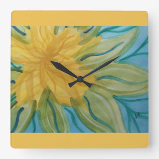 Vivid abstract watercolor yellow flower square wall clocks