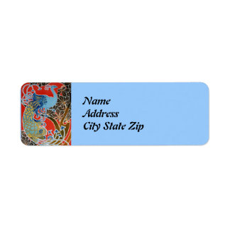 Vivid Art Nouveau Peacock Label