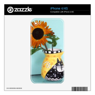 Vivid Autumn Beauty Sunflower in a Cat Vase Skin For The iPhone 4S