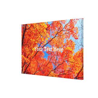 Vivid Autumn Orange Maple Leaves Fall Blue Sky Canvas Print
