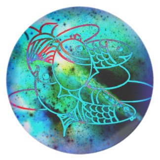 Vivid Blue Fish Picnic Plate