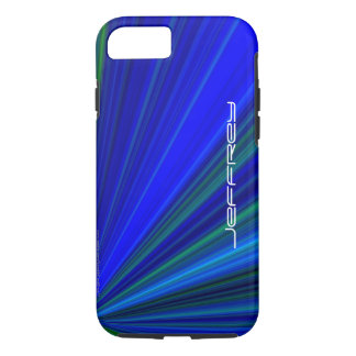 Vivid Blue & Green Starburst, Personalized Name iPhone 8/7 Case