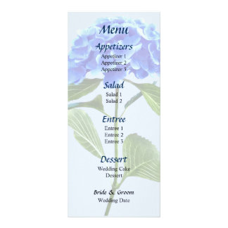 Vivid Blue Hydrangea Wedding Menu