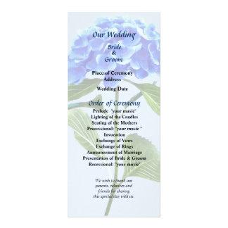 Vivid Blue Hydrangea Wedding Program