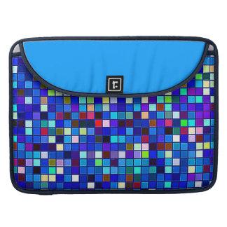Vivid Blue Multicolored Square Tiles Pattern Sleeve For MacBooks