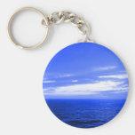 Vivid Blue Ocean Sunset Sky Keychain