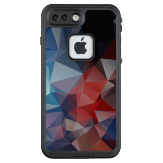 Vivid Blue Red Abstract Pyramid Pattern LifeProof FRĒ iPhone 7 Plus Case