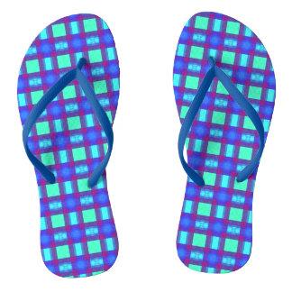 Vivid Blues Plaid Flip Flops
