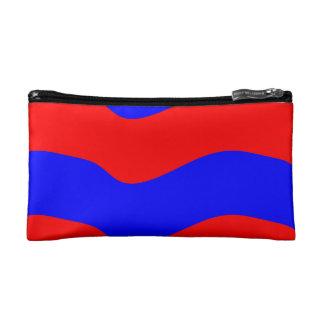 Vivid Bold Waves of Red and Blue Stripes Makeup Bag