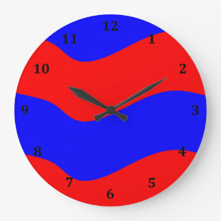 Vivid Bold Waves of Red and Blue Stripes Wall Clocks