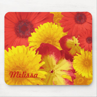Vivid Bright Red Daisies Yellow Chrysanthemums Mouse Pad