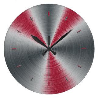 Vivid Burgundy Splashes One Color Large Clock