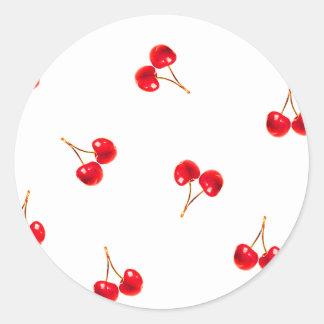 Vivid Cherry Pattern Classic Round Sticker