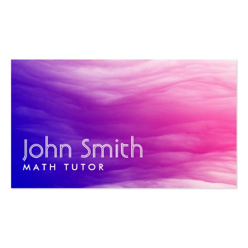 Vivid Colorful Clouds Math Tutor Business Card