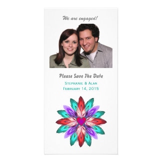 Vivid Colorful Feathers Engagement Card