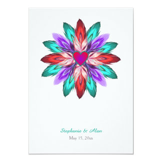 Vivid Colorful Feathers Wedding Card