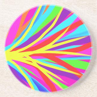 Vivid Colorful Paint Brush Strokes Girly Art Sandstone Coaster