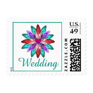 Vivid Colorful Watercolor Feathers Wedding Postage