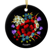 Vivid Colors Beautiful Colorful Flowers Vintage Ceramic Ornament