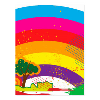 Vivid colourful rainbow landscape postcard