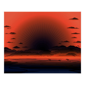 Vivid Dark Sunburst Beach Sky Poster