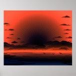 Vivid Dark Sunburst Beach Sky Posters