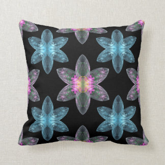vivid Diamond Star fractals on black Throw Pillow