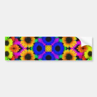 Vivid Floral Pattern Bumper Stickers