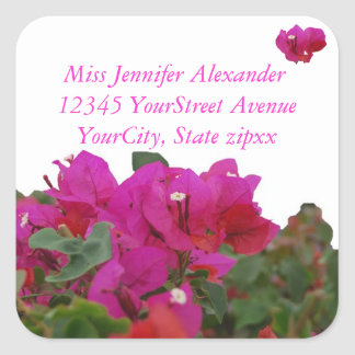 Vivid Flowers Return Address Square Sticker