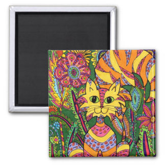 Vivid Garden Cat 2 Magnet