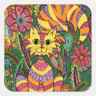 Vivid Garden Cat 2 Square Sticker