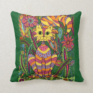 Vivid Garden Cat 2 with Green Background Throw Pillow