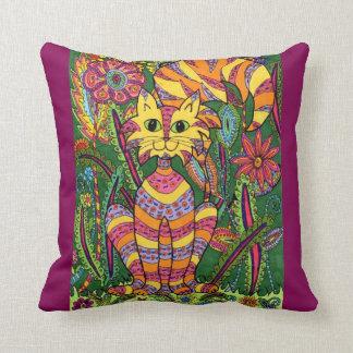 Vivid Garden Cat 2 with Purple Background Pillows