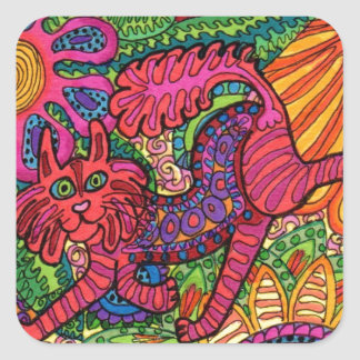 Vivid Garden Cat Square Sticker