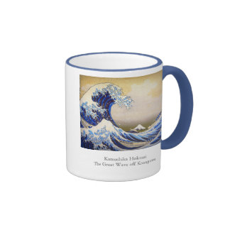 Vivid Great Wave by Hokusai Ringer Mug