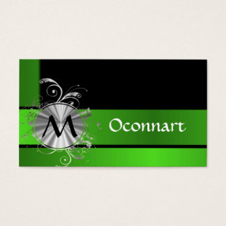 Vivid green and black monogram business card