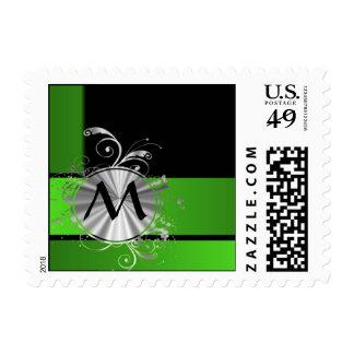Vivid green and black monogram postage