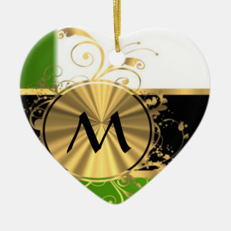 Vivid green and gold monogram Double-Sided heart ceramic christmas ornament