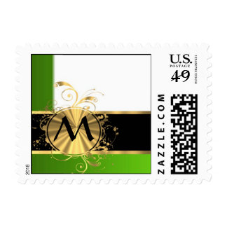Vivid green and gold monogram postage