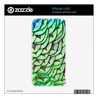 Vivid green breast feathers decal for the iPhone 4S