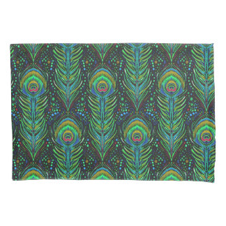 vivid green peacock feathers standard pillowcase