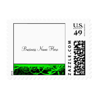 Vivid Green Swirls ::Business Postage Template