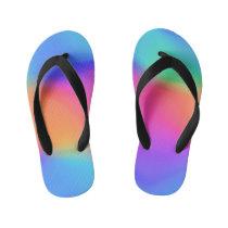 Vivid Holographic Kids Flip Flops