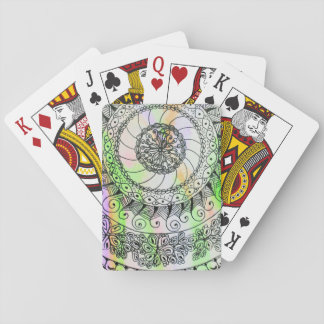 Vivid ink graphics on soft watercolor deck of cards