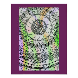 Vivid ink graphics on soft watercolor poster