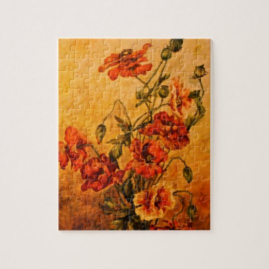 Vivid Late Victorian 1890 Oil Painting of Poppies Jigsaw Puzzle