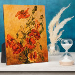 Vivid Late Victorian 1890 Oil Painting of Poppies Photo Plaque